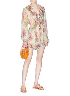 Zimmermann 'Melody' ruffle floral print organza floating playsuit