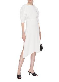 KHAITE 'Cynthia' puff sleeve side split satin dress