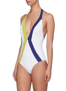 Flagpole Swim 'Jade' stripe halterneck one-piece swimsuit
