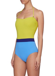 Flagpole Swim 'Rita' colourblock halterneck one-piece swimsuit