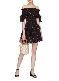 Caroline Constas 'Kennie' floral print ruffle off-shoulder silk dress