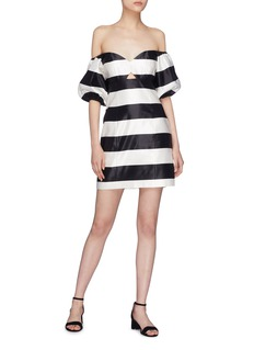 Caroline Constas 'Titos' cutout waist stripe off-shoulder dress