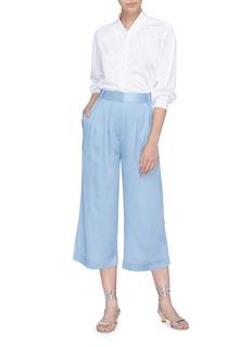 Tibi Pleated chambray culottes