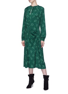 Tibi 'Remi' leaf print ruched dress