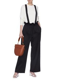 Tibi Suspender drawcord paperbag pants