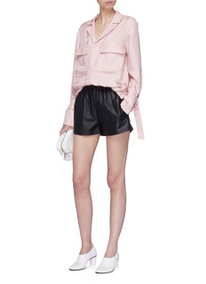 Tibi Buckled cuff epaulette notched lapel shirt jacket