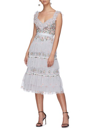 Figure View - Click To Enlarge - NEEDLE & THREAD - 'Whimsical' floral embroidered tiered tulle dress