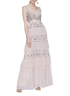 Needle & Thread 'Whimsical' floral embroidered tiered tulle gown