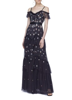 Needle & Thread 'Lustre' floral embellished tiered off-shoulder gown