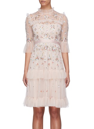 Main View - Click To Enlarge - NEEDLE & THREAD - 'Lustre' floral embellished tiered dress