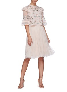 Needle & Thread 'Whimsical' flared sleeve floral embroidered tulle top