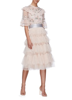 Needle & Thread Scalloped tiered tulle skirt