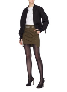Helmut Lang Belted patchwork twill military skirt