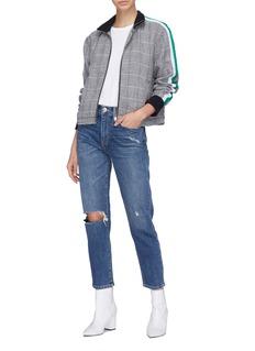 Current/Elliott 'The Dassen' stripe sleeve check plaid linen jacket
