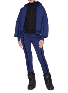 Fendi Sport Logo patch stripe hooded ski down jacket