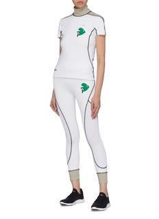Fendi Sport Karlito golf print check panel mock neck shirt