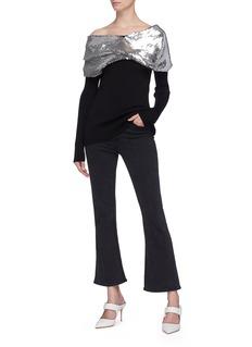 Monse Sequin twist shawl collar one-shoulder sweater