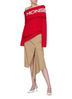 Monse Split drape gabardine pencil skirt