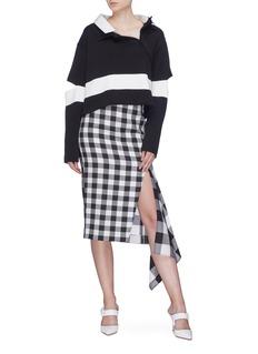 Monse Cutout sleeve stripe twist wool polo sweater