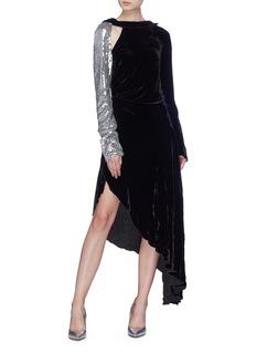 Monse Sequin sleeve cutout drape velvet dress