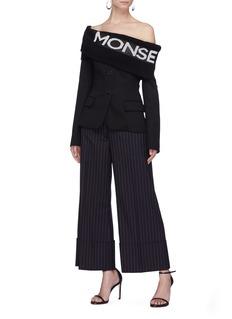 Monse Logo jacquard knit foldover off-shoulder suiting jacket