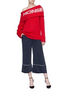 Monse Logo jacquard foldover one-shoulder sweater