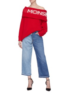 Monse Staggered waist colourblock culotte jeans