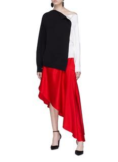 Monse Split asymmetric ruffle satin skirt