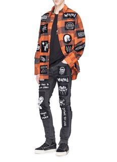 Haculla Mix graphic appliqué check plaid flannel shirt