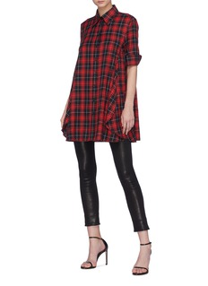 Neil Barrett Drape panel tartan plaid shirt dress
