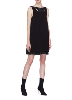Neil Barrett Cutout panel plissé pleated trim sleeveless dress