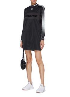 Adidas 'Adistar' slogan velvet flock print 3-Stripes raglan dress