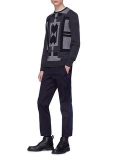 Neil Barrett Geometric intarsia wool sweater