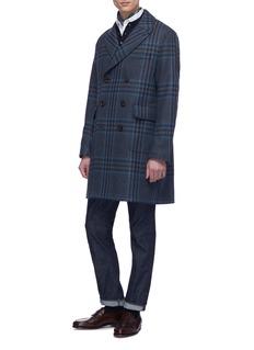 Incotex Virgin wool blend knit long sleeve polo shirt