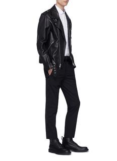 Neil Barrett Satin stripe outseam slim fit gabardine pants