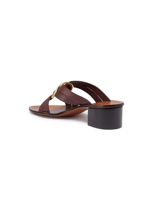 Detail View - Click To Enlarge - CHLOÉ - 'Rony' oversized ring cross strap leather sandals