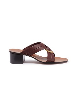 Main View - Click To Enlarge - CHLOÉ - 'Rony' oversized ring cross strap leather sandals