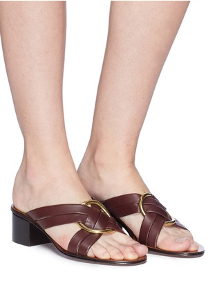 Figure View - Click To Enlarge - CHLOÉ - 'Rony' oversized ring cross strap leather sandals
