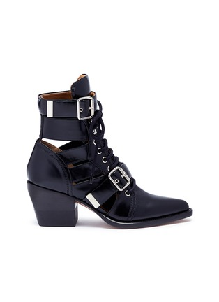 Main View - Click To Enlarge - Chloé - 'Rylee' lace-up leather ankle boots