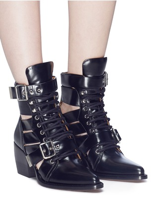 Figure View - Click To Enlarge - Chloé - 'Rylee' lace-up leather ankle boots