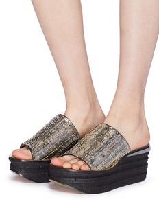 Chloé 'Camille' cork wedge sequin sandals