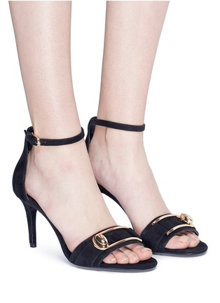 Figure View - Click To Enlarge - Stella Luna - Turnlock buckle suede sandals