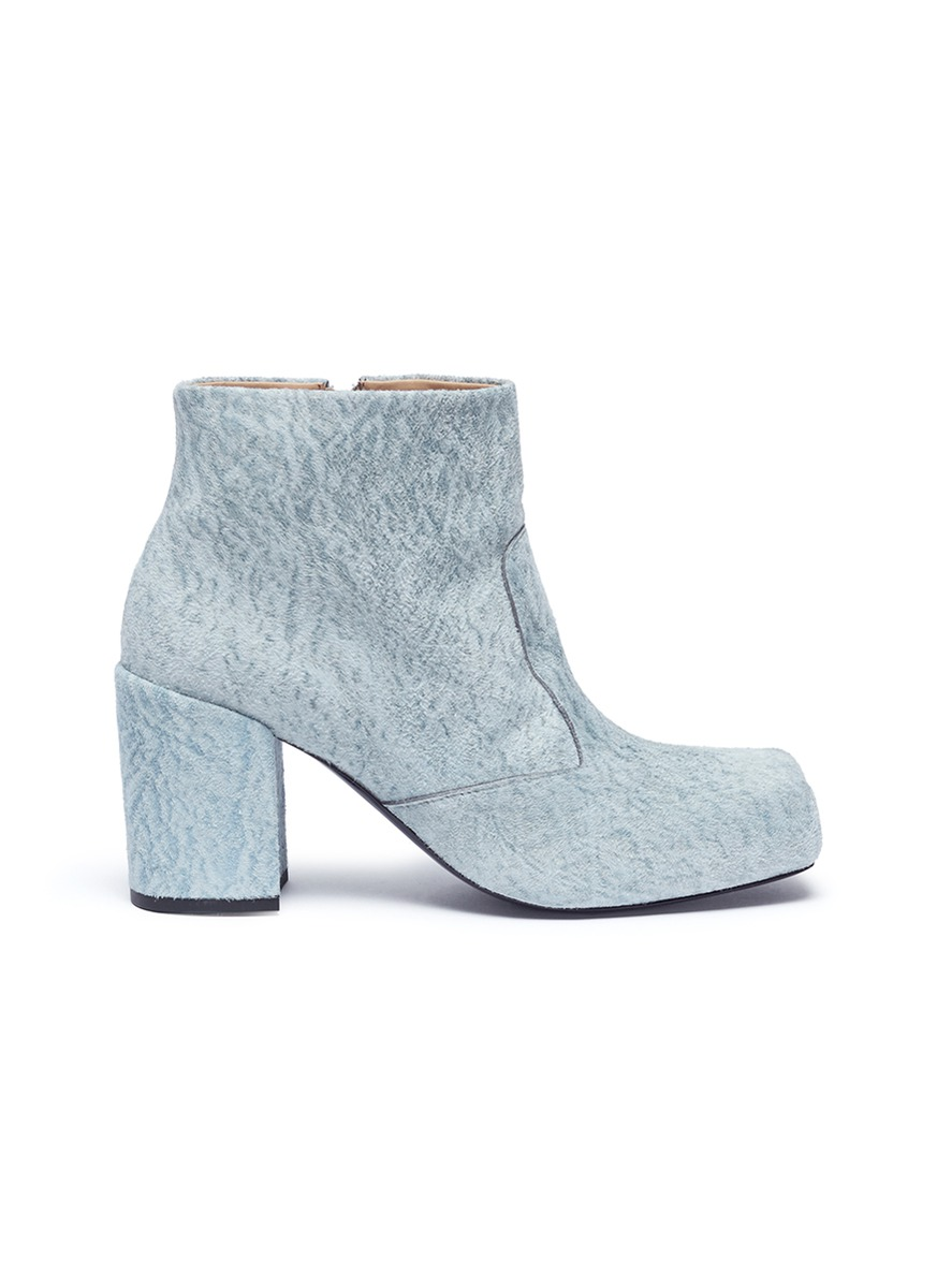 Chunky Square suede boots by Aalto