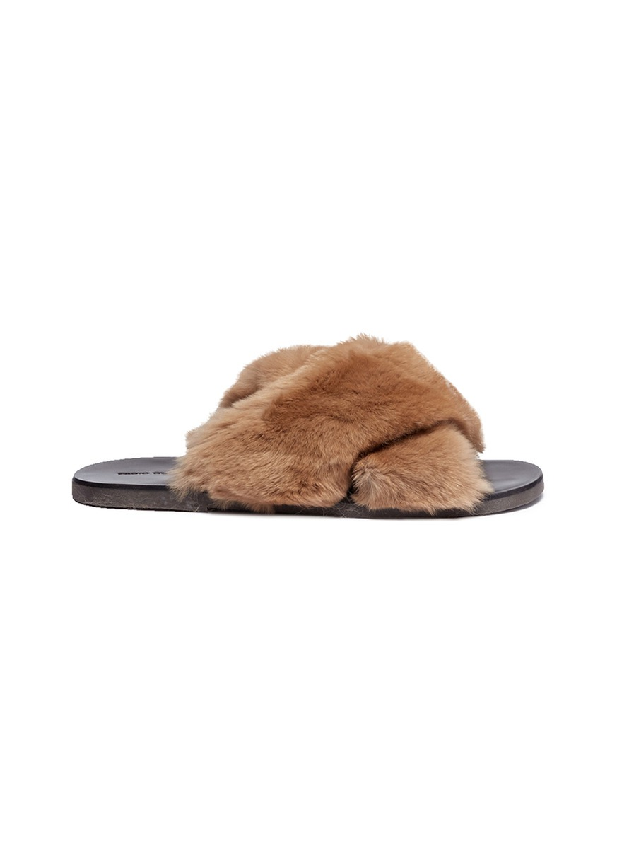 Cross strap fur slide sandals by Fabio Rusconi