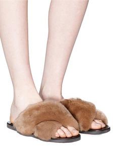 Fabio Rusconi Cross strap fur slide sandals