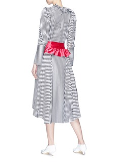 Maggie Marilyn Ruffle satin sash stripe shirt dress