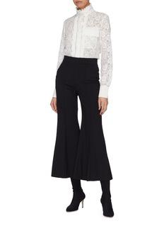 Chloé Floral lace ruffle turtleneck blouse