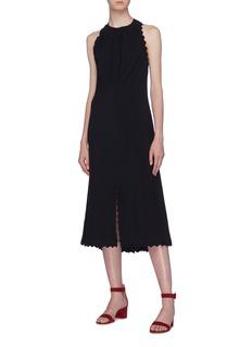Chloé Split hem open back scalloped dress