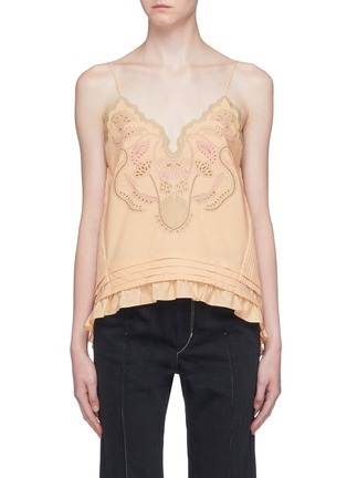 Main View - Click To Enlarge - CHLOÉ - Blossom embroidered ruffle hem camisole top