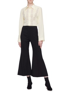 Chloé Lace panel pleated yoke silk crepe blouse